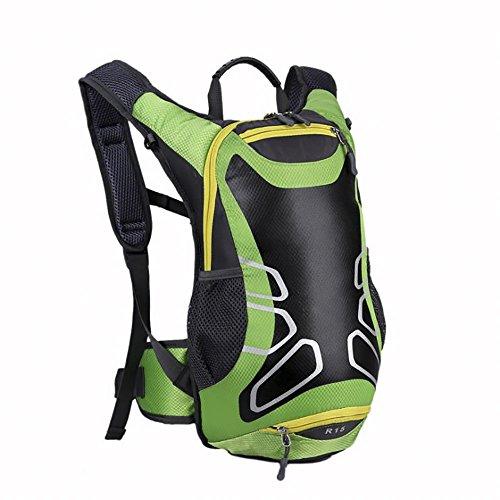 Withu KYD 15L Fahrradrucksack mit Helmhalterung, leichter Skirucksack (Mini, kompakt, wasserdicht), kleine Fahrradrucksäcke für Outdoor-Wandern, Skifahren, Trekking, Camping, Bergsteigen, grün, Größe
