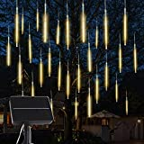 Solar Meteor Lights: 10 Tubes 180 LED 30.8 Feet Cascading Falling Rain Lights,Solar Powered Waterproof Warm White Icicle Shower Lights for Tree Decoration Holiday Party Christmas Patio Wedding Decor