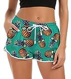 Mujeres Pantalones cortos de playa lindos Pantalones cortos con estampado de piña Cintura elástica inferior con cordón ajustable Trajes de baño Pantalones cortos de secado rápido para correr Yoga