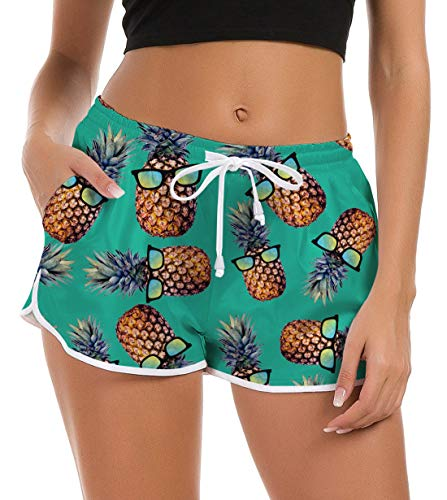 Fanient Damen Strand Boardshorts Lässige Tropische Ananas Outdoor Sommer Hose Wassersport Boardshorts Athletic Shorts mit Taschen Kurze Hosen Mädchen XL