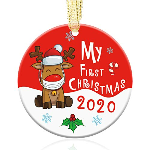 party greeting 2020 Christmas Ornament Xmas Tree Decoration Ceramic Baby's First Christmas Ornament Presents for Baby Family Friend Red(My First Christmas)