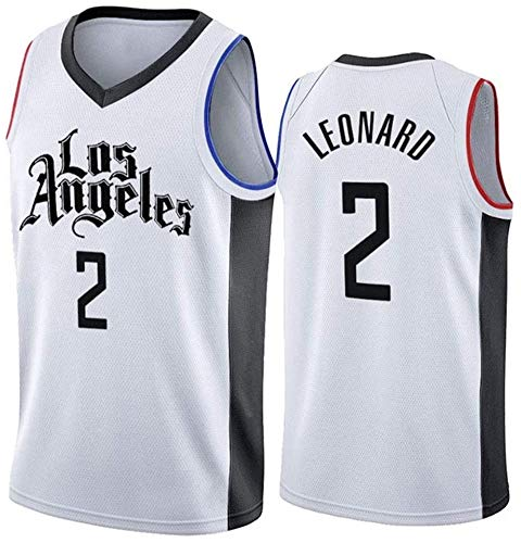 Maglia basket Los Angeles Clippers 2#, Kawhi Leonard Basketball Swingman Uniform, Canotta pantaloncini allenamento estivo per ragazzi-White-M(175~180cm)