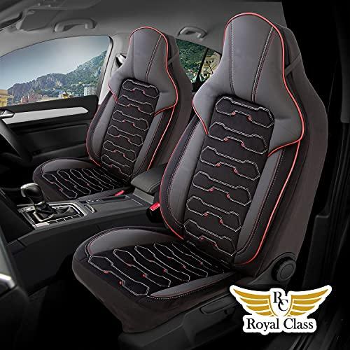 Fundas de asiento de coche de piel sintética compatibles con Seat León en negro y rojo, juego de asientos delanteros del conductor y del copiloto, 2 asientos compatibles con airbag