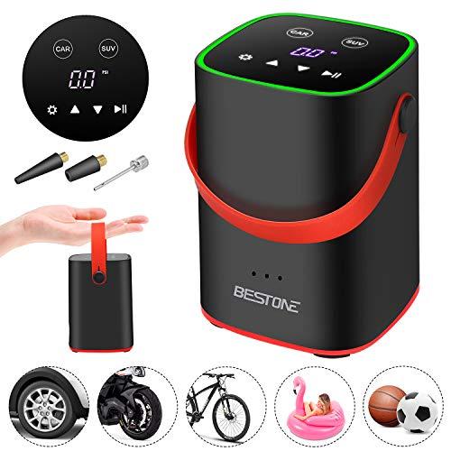 BESTONE Compressore Portatile, Portable Air Pump Batteria Ricaricabile 2000 mAh, LED Touchscreen...