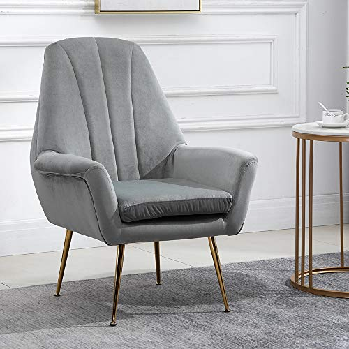 4HOMART Single Sofa Chair with Thick Cushion Modern Nordic Style Accent Chair Velvet Upholstered Mini Sofa Pull Buckle Leisure Nap Lazy Chair with Metal Leg for Home Living Room Office