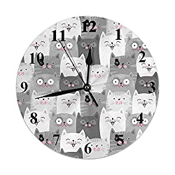 HGOD DESIGNS Cats Round Wall Clock,Cute Grey Cats with Funny Various Expressions Pattern Silent Round Wall Clock Home Wall Decorative for Bedroom Office School Art(10)