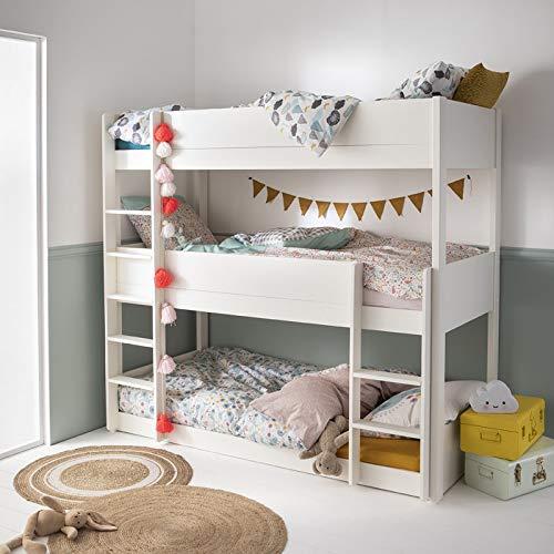 Alfred & Compagnie - Juego de cama triple y colchón (90 x 200 cm), color blanco