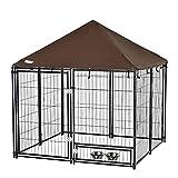 Pawhut Parque para Perros con Toldo Perrera Metálica de Exterior con Soporte Giratorio para Comida 2 Cuencos Incluidos y Cerradura para Mascotas Jardín...