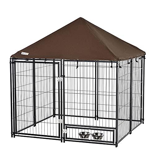 Pawhut Parque para Perros con Toldo Perrera Metálica de Exterior con Soporte Giratorio para Comida 2 Cuencos Incluidos y Cerradura para Mascotas Jardín 141x141x121 cm Negro