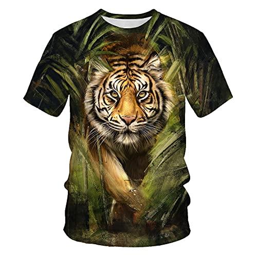 Astemdhj Camiseta de Manga Corta Camisa 3D Moda Verano León Patrón 3D Impresión Hombres Camiseta De Manga Corta Hip-Hop León Tigre Ropa De Calle Suelta Casual Cuello Redondo M F663