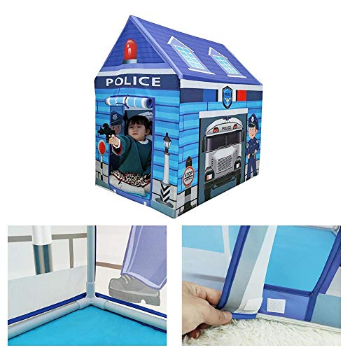 Kid Police Station Play Tent Pretend Super Hero Playhouse Safe Non-Fading Indoor for Children Boys Girls