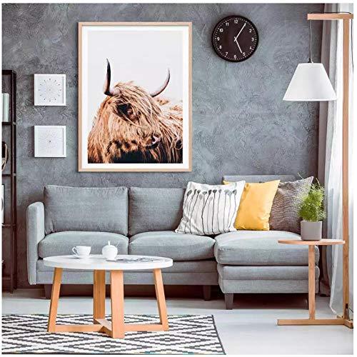 Carteles de animales nórdicos de vaca de las tierras altas impresiones de arte de pared Natural lienzo pintura cuadros decorativos para sala de estar 50x70cm sin marco artppolr