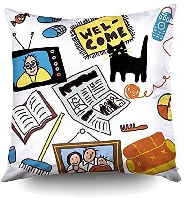 Keyboard cover Cojín de sofá, fundas cuadradas estándar para objetos de hogar. El patrón con objetos aislados sobre el hogar está separado (18 x 18 pulgadas).