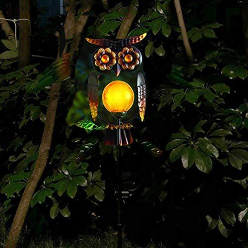 Uonlytech Lámpara solar con forma de búho LED para exterior, jardín, paisaje, decoración, creativa, bola de cristal para yard Pathway, luz cálida