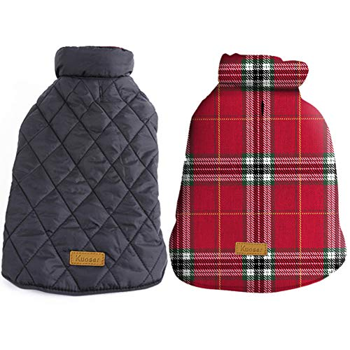 Kuoser Cozy Waterproof Windproof Reversible British Style Plaid Dog Vest Winter Coat Warm Dog Apparel for Cold Weather Dog Jacket for Small Medium Large Dogs with Furry Collar (XS - 3XL) Bright Red M