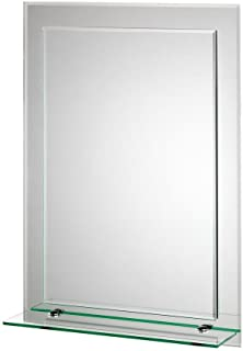 Croydex Devoke Double Layer Wall Mirror 28-Inch x 20-Inch with Shelf and Hang 'N' Lock Fitting System