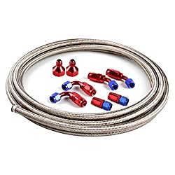 12Ft 6AN Universal 3//8 Braided Stainless Steel Fuel Line Filler Feed Hose W//6pcs AN6 Hose Fitting Kit Blue /& Red