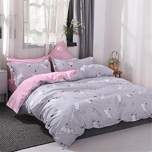 Mitchell Kinderbettwäsche 135x200 2 Teilig Mädchen Grau Rosa Kinder Bettwäsche Set Katzenmotiv Mikrofaser Pink Bettbezug Reißverschluss Kissenbezug 80x80 Katze
