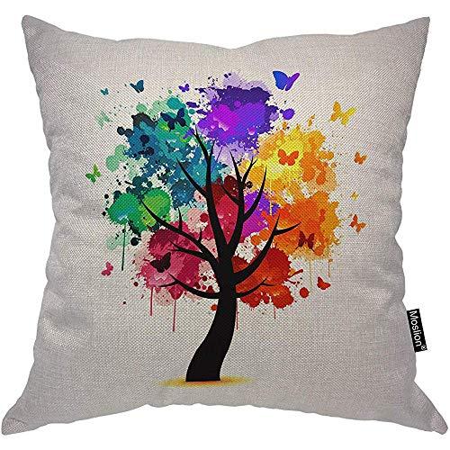 Oreillers d'arbre arbre coloré papillon à pois Spot Splash violet Orange Geen housse de coussin carré accent taie d'oreiller pour chaise de canapé 2pcsCuscini per alberi Albero colorato Farfalla Polka