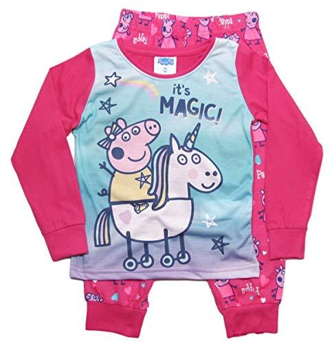 Peppa Wutz Schlafanzug Mädchen Pyjama Peppa Pig Lang (Weiß-Fuchsia, 116)