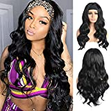 Beyond Beauty Long Body Wavy Headband Wig for Black Women, 24 inch High Density Glueless Black Long Curly Synthetic Headband Wigs Natural Looking for Daily Party Wear(1B)