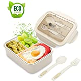 Lunch Box, Porta Pranzo, 1400ml Kids Bento Box con 3 Scomparti e Posate(Forchetta e Cucchi...