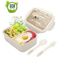 lunch box, porta pranzo, 1400ml kids bento box con 3 scomparti e posate(forchetta e cucchiaio), lavastoviglie/approvato dalla fda/senza bpa. (beige)