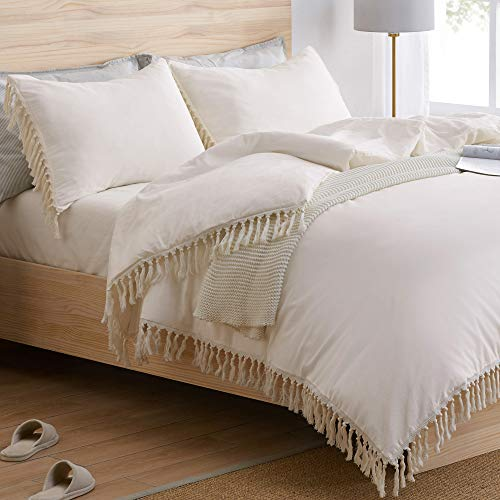 Bohemian Boho Chic Ivory Macrame Tassel 3 pc. Full/Queen Size Bed Bedding Duvet Comforter Cover and Sham Set Solid Cream Off White Cotton Fringe Textured Tufted Luxury Minimalist Farmhouse Indie