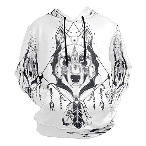 Moda 3D impresión de dibujos animados animal perro patrón unisex suéter fresco sudaderas con bolsillo canguro para hombres y mujeres