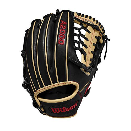 Wilson A2000 11.5-Inch SuperSkin Baseball Glove, Black/Light Blonde, Left (Right Hand Throw)