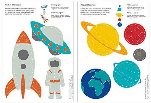 Familienmomente 10 Bastelbogen zum Prickeln Weltraum (5X Planeten/5x Rakete,Astronaut, UFO) DIN A5