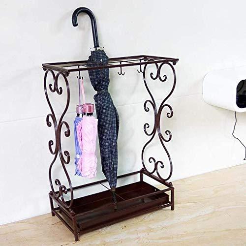 CX Soportes de paraguas, soporte de paraguas de metal Soporte de paraguas negro Soporte de almacenamiento con base extraíble Bandeja de goteo para bastones/bastones/Negro