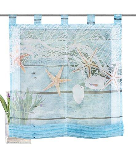 Home Fashion Schlaufenraffrollo Voile Digitaldruck MARITIM, Polyester, Blau, 140 x 100 cm