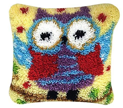 Kit de ganchos para alfombra hecha a mano, bordado, ganchillo, alfombra de ganchillo, alfombra de felpa, juego para principiantes, para niños/adultos, manualidades, 40 x 40 cm, búho