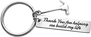 Father's Day Gift Thank You for Helping Me Build My Life Stainless Steel Hammer Keychain Birthday Gifts Christmas Gifts for Dad, Stepdad, Grandpa, Pastor, Teacher, Mentor