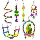 GOODGDN Juguetes de Loro Pájaros, 6 Piezas Perchas Pájaros Juguetes con Campanas, Escalera de Madera Columpios Hamaca de Madera Que Cuelga la Perca Juguete para Pequeños y Medianos Loros de Aves