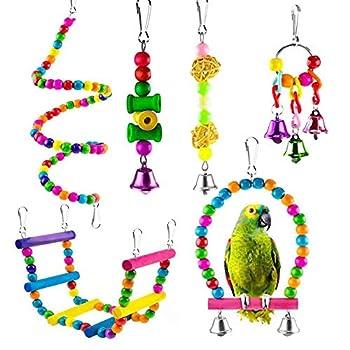 GOODGDN Jouets pour Oiseau pour Perroquet, 6 Pièces Coloré Oiseaux Jouets avec Cloches Bird Chewing Jouet Balançoire Cloche Jouet à Mâcher pour Cacatoès, Perruches Cockatiels et Cacatoès