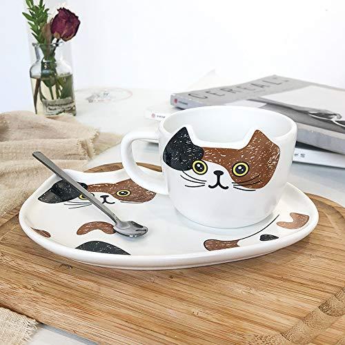 Jiayue Taza De Café Y Plato De Cerámica De Gato Set Taza De Taza De Agua 200ML Izquierda Negra Derecha Amarilla Gato