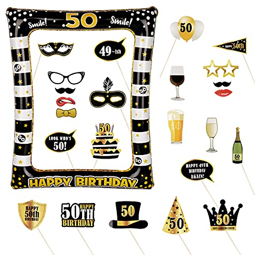 Photocall Cumpleaños 50 Años 24pcs Photo Booth Props+ Marco inflable de Fotocol Adornos Accesorios Decoración Fiesta Cumpleaños (50 Años)