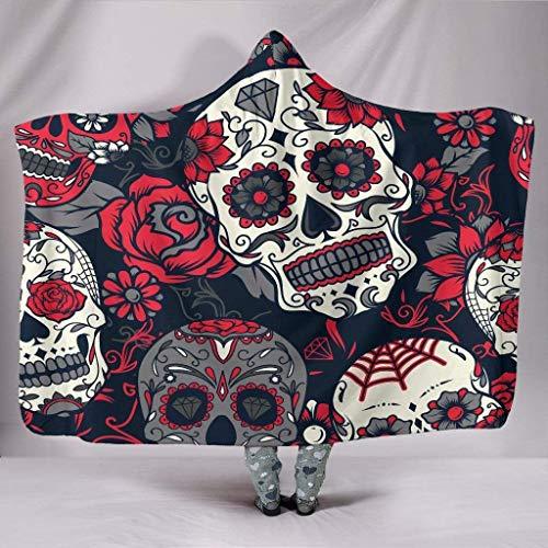 CICIDI Manta con capucha, diseño de calavera de azúcar rosa, día de los muertos, flor mexicana, Dia de los Muertos, Calavera Catrina, gótico Boho Hippie, manta colorida de 152,2 x 20,2 cm