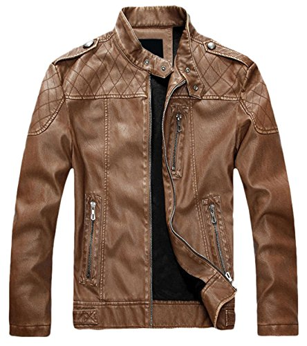 chouyatou Men's Vintage Stand Collar Pu Leather Jacket (Small, HZQM109-Brown)