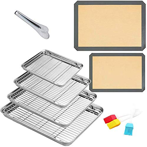Stainless Steel Baking Sheet with Cooling Wire Rack – Non Toxic & Healthy, Rust Free & Heavy Duty, Mirror Finish & Easy Clean (14 Pack)