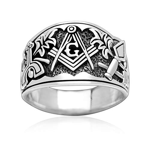 925 Sterling Silver Master Blue Lodge Mason Masonic Cigar Band Style Ring (10)