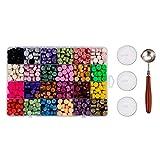 Amusingtao Juego de sellos de cera de 24 colores, para embalaje de regalo, con cuchara de fusión de carta, vintage, caja de perlas de sellado, sobres, bodas y scrapbooking