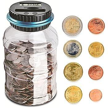 1.8L Salvadanaio Automatico Coin Counting Soldi Scatola Digitale Salvadanaio Euro Counter con Adesivi Digitale Conteggio Salvadanaio Idea Regalo per Natale e Compleanno per i Bambini e Adulti