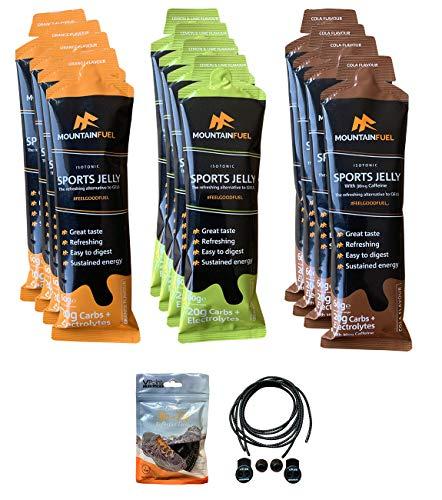 Mountain Fuel Isotonic Sports Jelly – La refrescante alternativa a los geles energéticos (paquete de 12 sabores mixtos). Incluye un par de cordones elásticos VPoint Leisure sin atar.