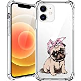 MAYCARI Cute Pug Case for iPhone 12 Phone Case 6.1 Inch, Cartoon Animal Pattern Clear Design Case for Girls Women Girly Soft Transparent Protective Case for iPhone 12