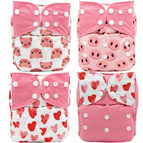 TBATM Baby Komplettwindeln, Wiederverwendbare Windeln Atmungsaktiv Komfortabel 4PCS Windeln + 4PCS Einsätze,Grün