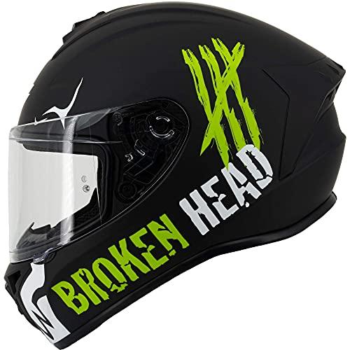 Broken Head Adrenalin Therapy 4X - Sportlicher Integralhelm - Motorrad-Helm - Schwarz-Weiß Matt (Ltd.) - Größe XL (61-62 cm)