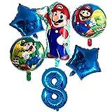 Jjwlkeji Esmalte de uñas en Gel 6pcs Super Mario Globos de 32 Pulgadas Número Globos Boy Fiesta de cumpleaños de la Muchacha Mario Bros Luigi Mylar Globo Azul Rojo Set Decoración (Color : Blue 8)